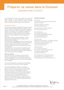 Guide d'information pdf pour préparer sa venue dans le cadre d'un stage à l'Aria
