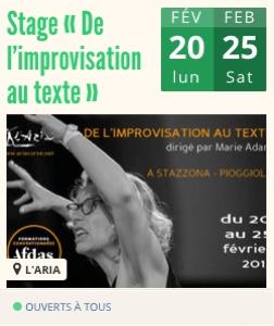 Stage L'ARIA - De l'improvisation au texte